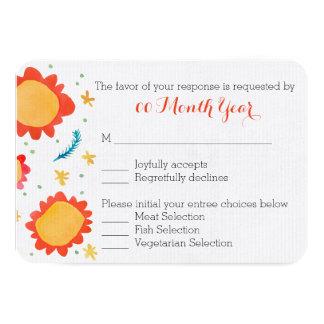 Painted Flowers orange Wedding RSVP Card