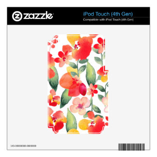 Painted Flowers Pattern iPod Touch 4G Decal