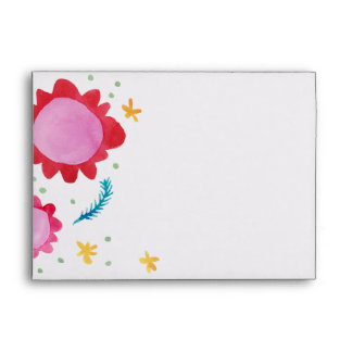 Painted Flowers red A7 Greeting Card Envelope