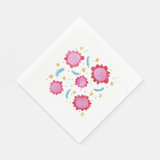 Painted Flowers red Luncheon Paper Napkins