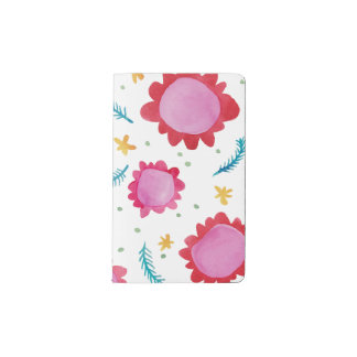 Painted Flowers red Moleskine Notebook Cover