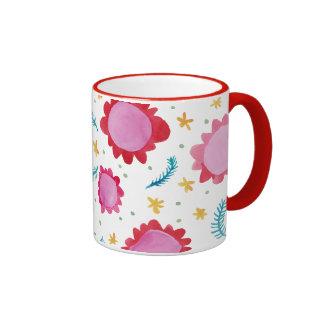 Painted Flowers red Ringer Mug