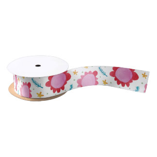 """Painted Flowers red Satin Ribbon 1.5"""""""