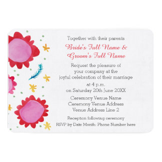 """Painted Flowers red Scalloped 5x7"""" Wedding Invite"""