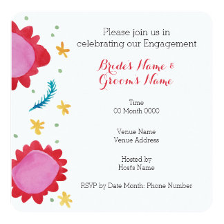 Painted Flowers red Square Engagement Invitation