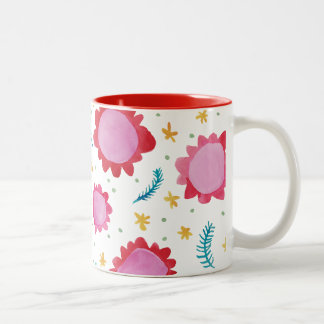 Painted Flowers red Two-Tone Mug