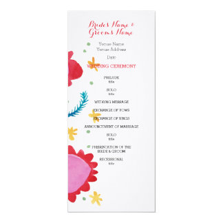 Painted Flowers red Wedding Program 4x9.25 Paper Invitation Card