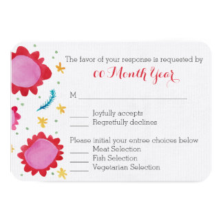 Painted Flowers red Wedding RSVP Card