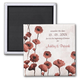 Painted Flowers - the beginning of forever Wedding 2 Inch Square Magnet