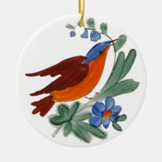 Painted folk art bird Double-Sided ceramic round christmas ornament