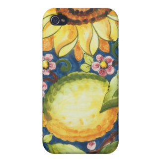 Painted Folk Art  Sun Flower Covers For iPhone 4