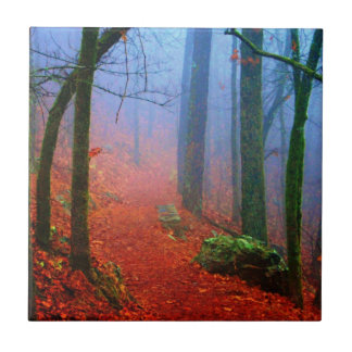Painted Forest Autumn Blue Fog Small Square Tile