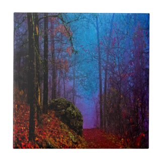 Painted Forest Autumn Purple Fog Small Square Tile