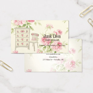 Painted Furniture Flower Dresser Chair Pink Roses Business Card