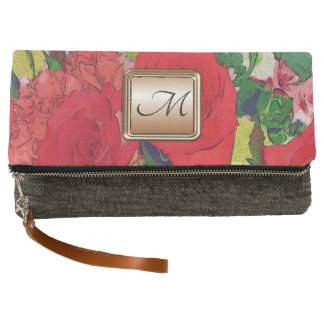 Painted Garden Flowers Monogram Clutch