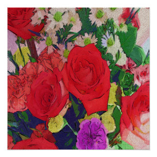 Painted Garden Flowers Poster