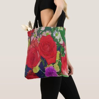 Painted Garden Flowers Tote Bag