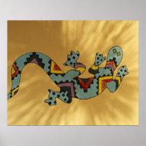 Painted gecko lizard on wall, Tucson, Arizona, Poster