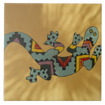 Painted gecko lizard on wall, Tucson, Arizona, Tile