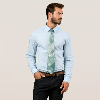 Painted Geometric Pale and Sage Green Pattern Tie