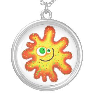 Painted Germ Round Pendant Necklace