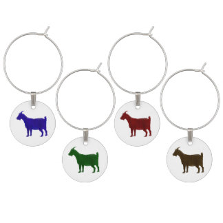 Painted Goat in 4 Colors Wine Charms