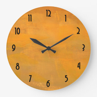 Painted Golden Grunge Abstract Large Clock