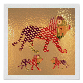 Painted Golden LION Poster