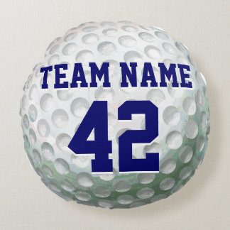 Painted Golf Ball with Name Round Pillow