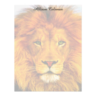 Painted Green Eyed Lion Stationery Letterhead