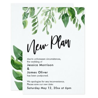 Painted Greenery Postponed Wedding New Plan Card