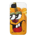 Painted Happy Pumpkin Face iPhone 4 Covers
