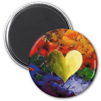Painted Heart 2 Inch Round Magnet