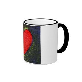 Painted Heart Ringer Mug