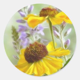 Painted Helenium Flowers Classic Round Sticker