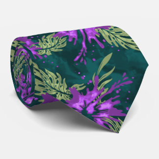 Painted Hibiscus Hawaiian Floral Two-sided Printed Neck Tie