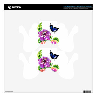 Painted Hibiscus PS3 Controller Decals