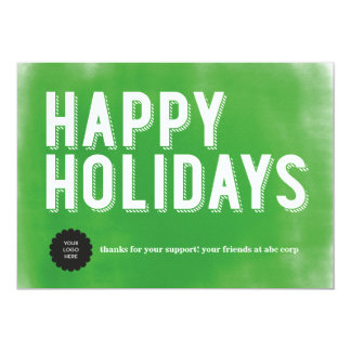 Painted Holidays Green Flat Card