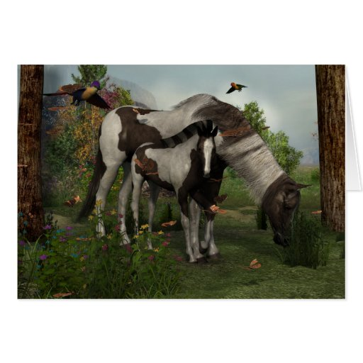 Painted Horse and Foal Card