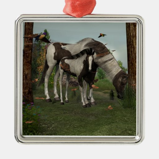 Painted Horse and Foal Ornament
