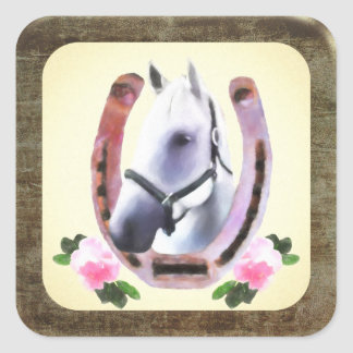 Painted Horse In Faux Leather Frame Square Sticker