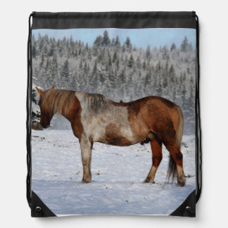 Painted Horse in Snow Equine photo Drawstring Backpack