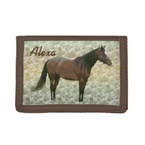 Painted Horse Personalized Trifold Wallet