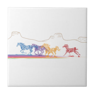 Painted Horses in the Painted Desert Ceramic Tile