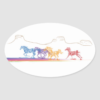 Painted Horses in the Painted Desert Oval Sticker