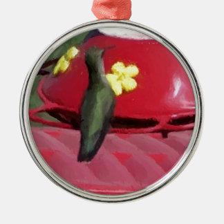 Painted Hummingbird at Feeder Metal Ornament