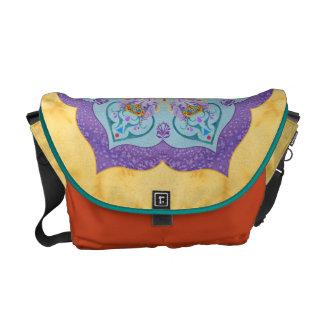 Painted Indian Elephant Mandala Messenger Bag