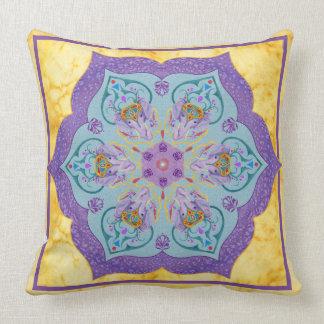 Painted Indian Elephant Mandala Throw Pillow