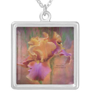 Painted Iris Wearable Art Necklace
