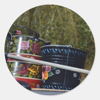 Painted Jug And Bucket Round Sticker